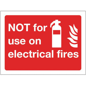 Sign Not For Use On Electrical Fires 200x150 Polycarb