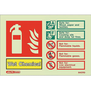 Photoluminescent Sign Wet Chemical Hxw: 100X150 Fire Extinguisher Wet Chemical