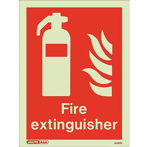 Photoluminescent Fire Extinguisher Location Sign HxW 300x225mm