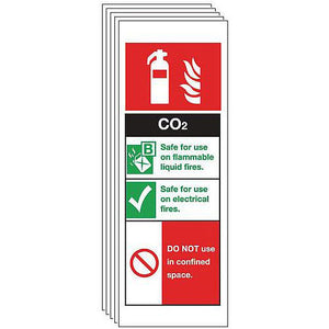 Rigid PVC Plastic Co2 Extinguisher Sign Multi-Pack of 5