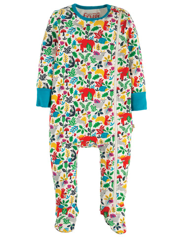 Frugi Multi Woodland Creatures Zipped Babygrow