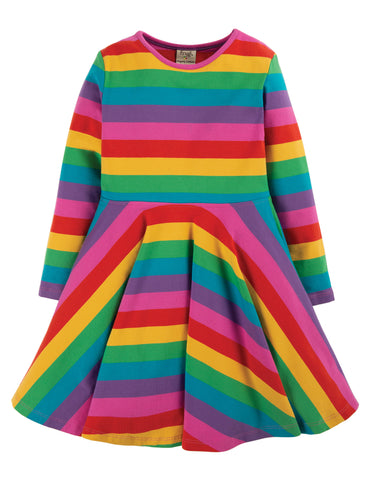 Frugi Sophia Skater Dress Foxglove, Rainbow Stripe