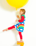 Toby Tiger Organic Multi Rainbow Applique Dress