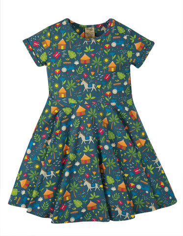 Frugi Sophia Skater Dress Indigo Farm