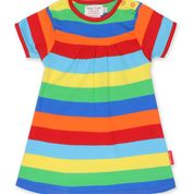 Toby Tiger Organic Multi Stripe Dress - Short Sleeved