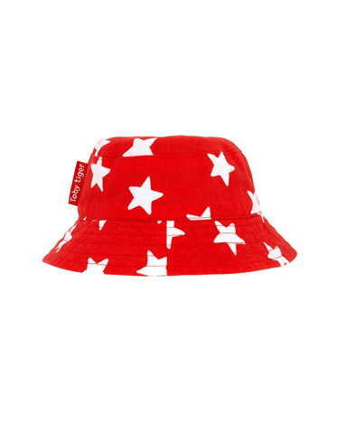Toby Tiger Organic Red Star Reversible Sun Hat