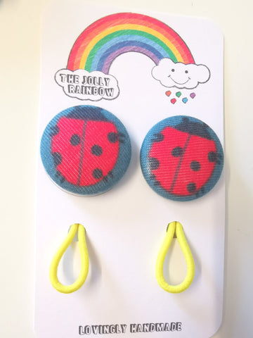 Jolly Rainbow Hair Bobbles - Frugi ladybird