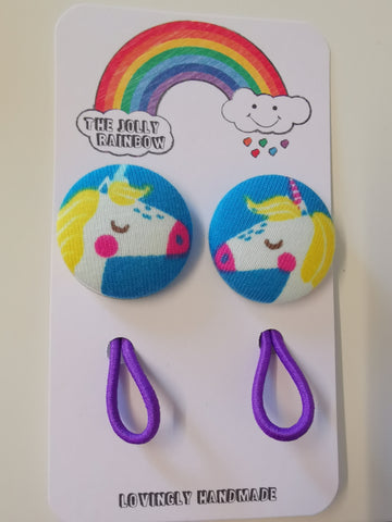 Jolly Rainbow Hair Bobbles - Frugi blue unicorn