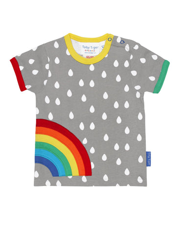 Toby Tiger Organic Raindrop Rainbow Applique T-Shirt
