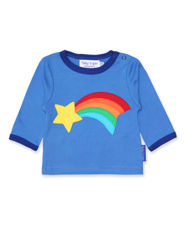 Toby Tiger Organic Shooting Star Applique Long Sleeved T-Shirt