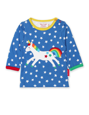 Toby Tiger Organic Unicorn Applique Long Sleeved T-Shirt