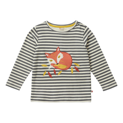 Piccalilly Winter Woodland Stripe Fox Top