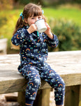 Frugi Big Snuggle Suit - Indigo Rainbow Walks
