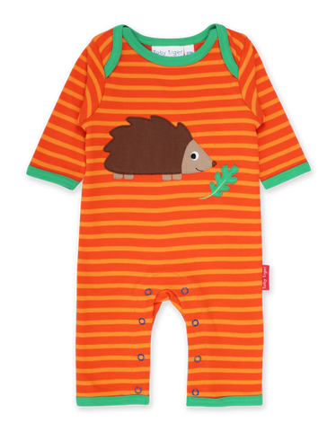 Toby Tiger Organic Hedgehog Applique Sleepsuit
