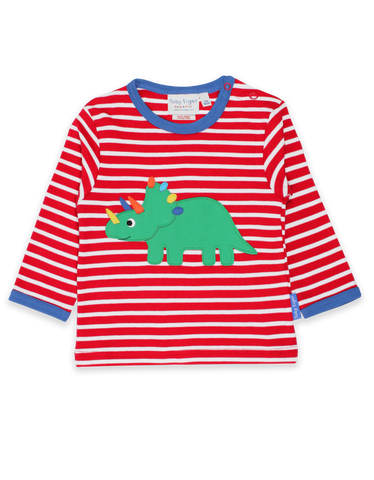 Toby Tiger Organic Triceratops Applique T-Shirt