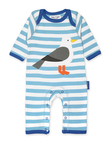 Toby Tiger Organic Seagull Applique Sleepsuit
