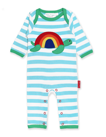 Toby Tiger Organic Turtle Applique Sleepsuit