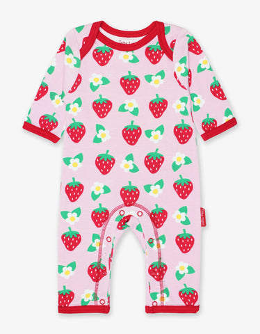 Toby Tiger Organic Strawberry Print Sleepsuit