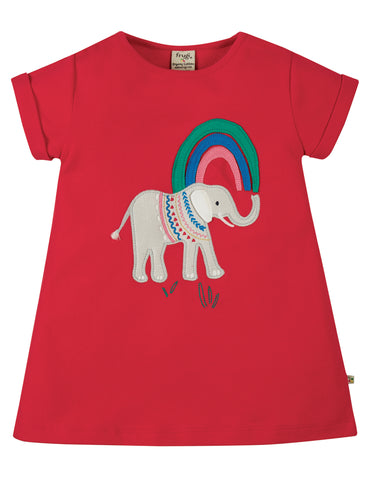 Frugi Sophie Applique to, True red, Elephant