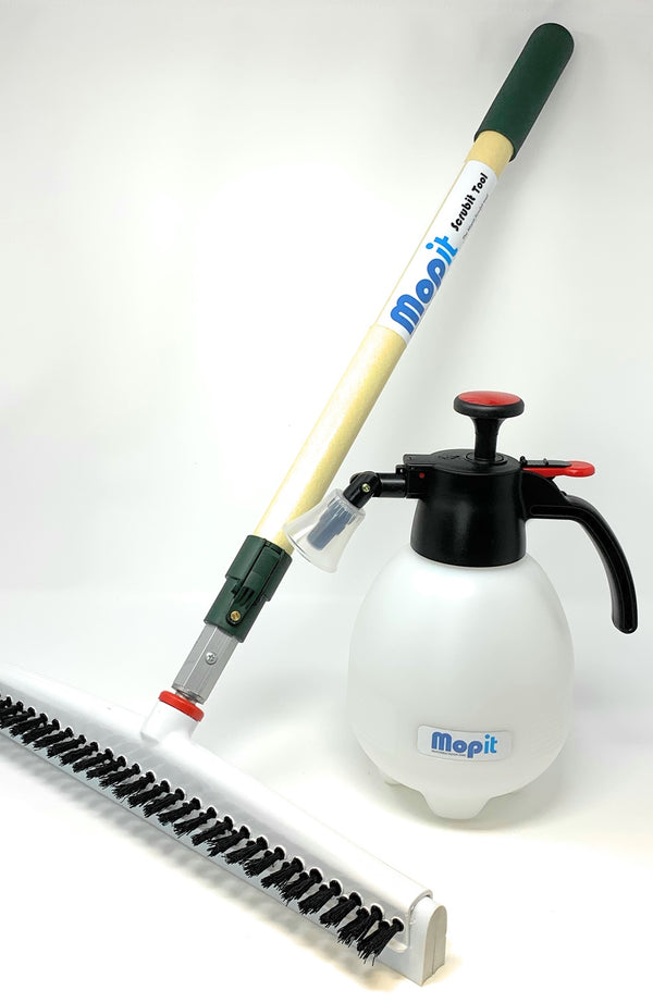 "Mopit Scrubit Tool Set with 18"" Brush/Squeegee and Push Button Extendable Wand"