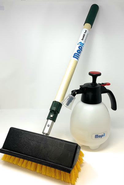 "Mopit Scrubit Tool Set with 10"" Brush/Squeegee and Push Button Wand"