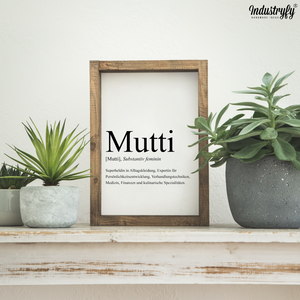 "Farmhouse Design Schild zum Muttertag ""Mutti"""