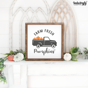 "Farmhouse Design Schild Herbst ""farm fresh pumpkins"""