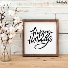 "Laden Sie das Bild in den Galerie-Viewer, Farmhouse Design Schild ""Happy Holidays"""
