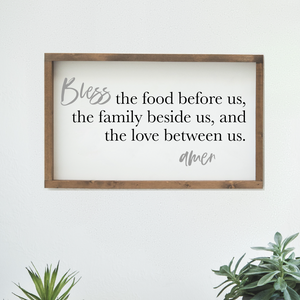 "Farmhouse Design Schild ""bless the food before us"""