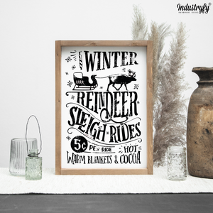 "Farmhouse Design Schild ""Funny Winter Reindeer Sleigh Rides 5 Cent"""