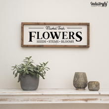"Laden Sie das Bild in den Galerie-Viewer, Farmhouse Design Schild ""Market Fresh Flowers"""