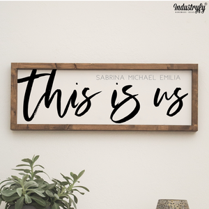 "Personalisiertes Farmhouse Design Schild ""This is us"""