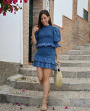Blue Bubbles Sleeves Ruffles Blouse Irregular Hem Skirt Mini Dress Two-piece Set