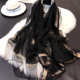 Lightweight Vogue Silkly Silk Scarf for Women Casual Scarves Women