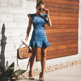 Vacation Blue Denim Ruffles Sleeves Mini Dresses