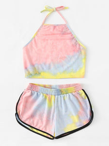 Tie Dye Two-piece Set Loungewear Home Workout Fitness Outfit