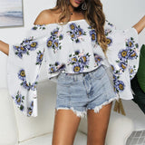 Off Shoulder Flared Sleeve Tops Sunflower Printed Blouse