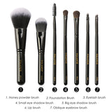7pcs Black Makeup Brushes Set With Diamond Brush Bucket, Foundation Blush Beauty Tool