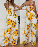 Summer Sunflower Print Suspenders Jumpsuit High Waist Romper