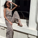 Leopard Print Suspenders Jumpsuit Lace-up Rompers Wide Leg Pants