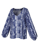 Women V Collar Ncek Printed Square Long Sleeve Tight Cuff Loose Shirt