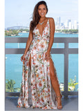 White Sexy Sling Colorful Floral Evening Party Maxi Dresses