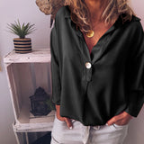 Women V Neck Button Breathable Loose Shirt