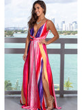 Purple Sexy Sling Colorful Floral Evening Party Maxi Dresses
