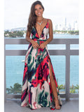 Red Green Floral Sexy Sling Colorful Evening Party Maxi Dresses