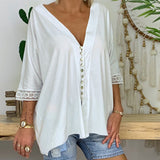 Women's Loose V Neck Lace Edge Shirt Button Blouse