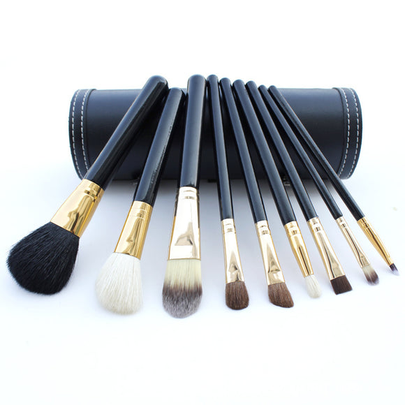 9pcs Black Makeup Brushes Set With PU Brush Bucket Wool Bristles Foundation Blush Beauty Tool