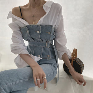Strapless Denim Tank  Tube Top Tops With Belt