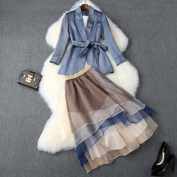 Office Style Bow Bandage Blazers Double Layer Skirt Midi Dress Two-piece Set