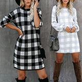 Lantern Sleeve Houndstooth Contrast Mini Dresses